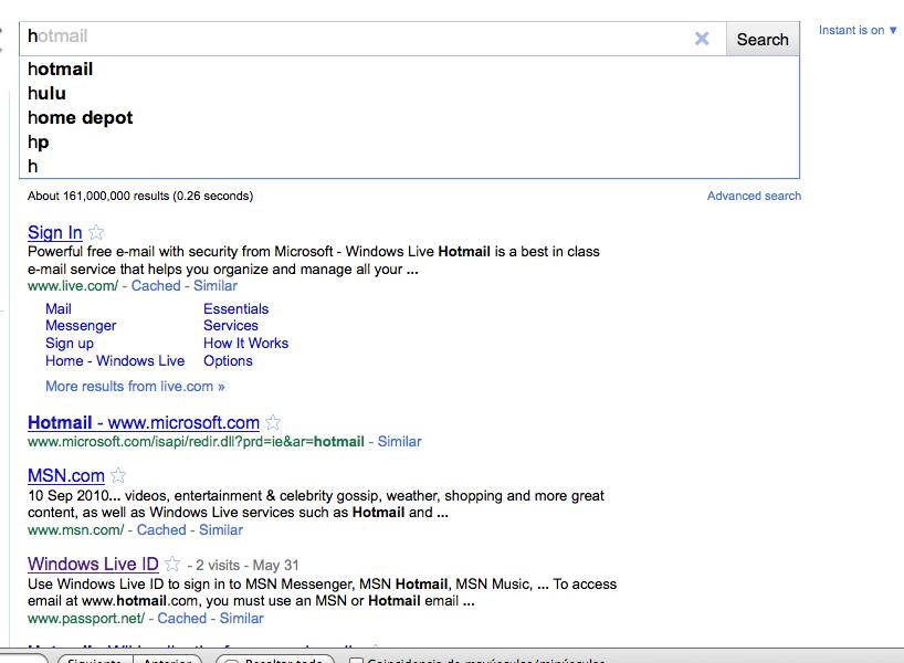 Primer resultado de google Instant por letra H